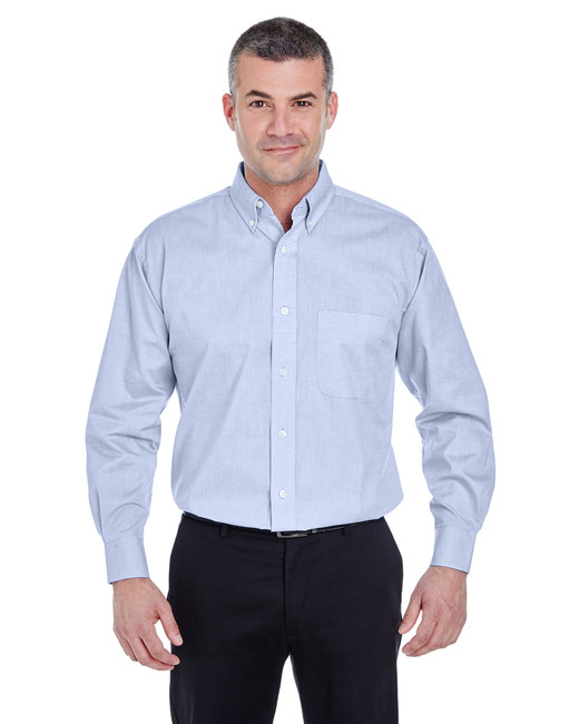 UltraClub Mens Lightweight Wrinkle Resistant Micro Check Woven Shirt