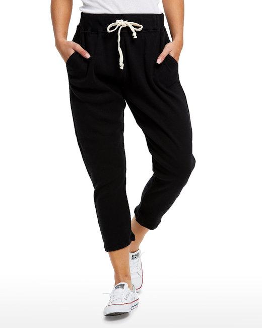 US Blanks Ladies' 2x1 Ribbed Capri Sweatpant - Black