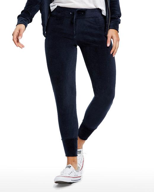 US Blanks Ladies' Velour Pants - Navy Blue