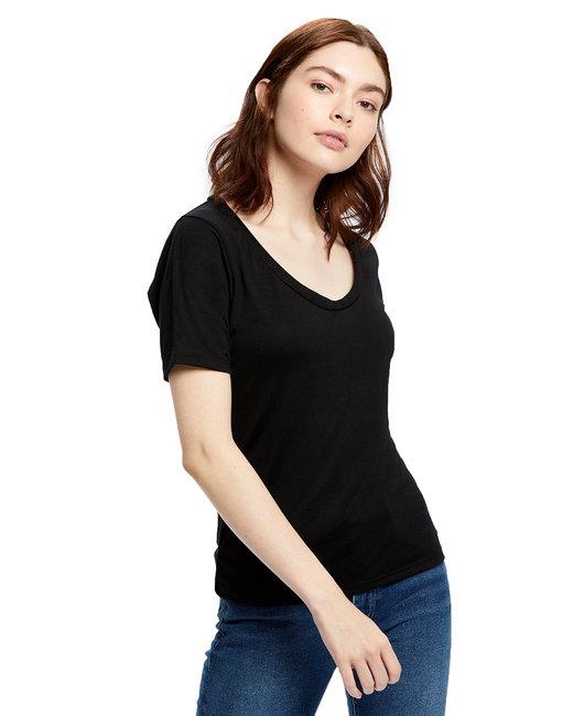 US Blanks Ladies' 2.5 oz. Short-Sleeve Deep Scoop Neck Blouse - Black