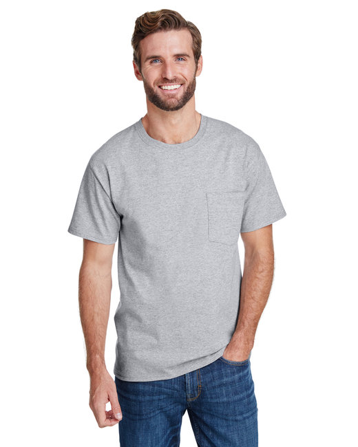 Hanes Adult Workwear Pocket T-Shirt - Light Steel