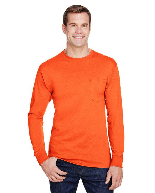 Hanes Adult Workwear Long-Sleeve Pocket T-Shirt - Safety Orange