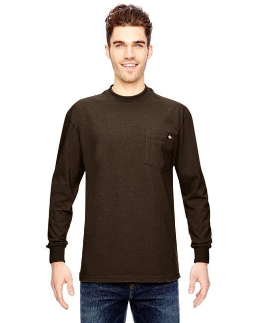 Dickies Men's 6.75 oz. Heavyweight WorkLong-Sleeve T-Shirt - Chocolate Brown