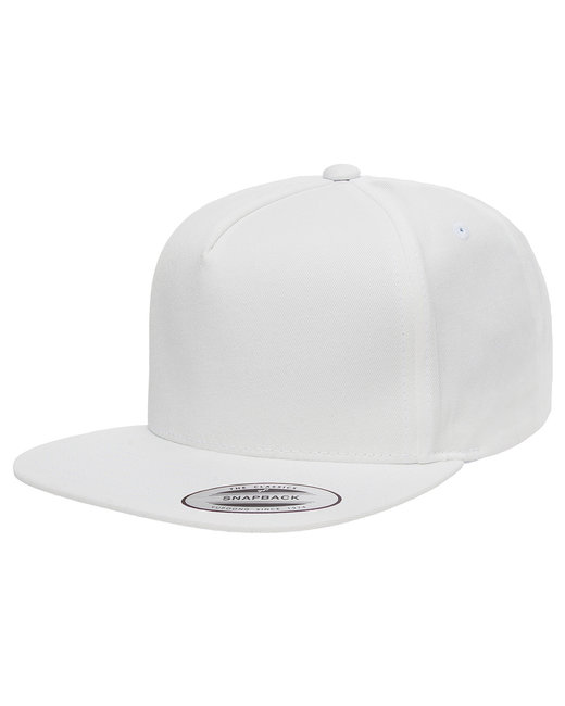 Yupoong Adult 5-Panel Cotton Twill Snapback Cap - White