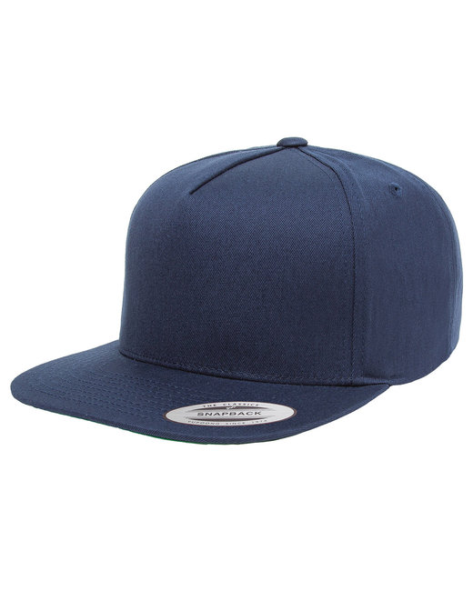 Yupoong Adult 5-Panel Cotton Twill Snapback Cap - Navy