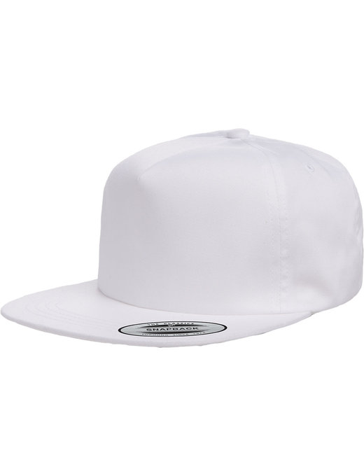 Yupoong Adult Unstructured 5-Panel Snapback Cap - White