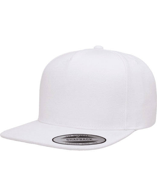 Yupoong Adult 5-Panel Structured Flat Visor Classic Snapback Cap - White