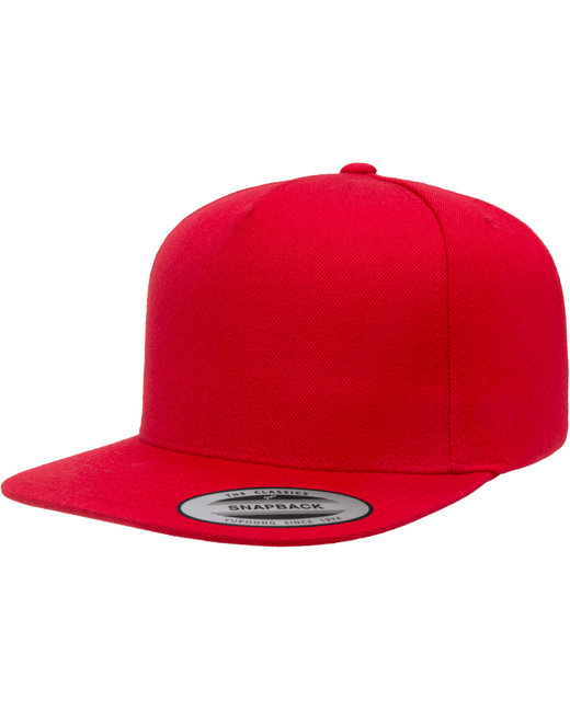 Yupoong Adult 5-Panel Structured Flat Visor Classic Snapback Cap - Red