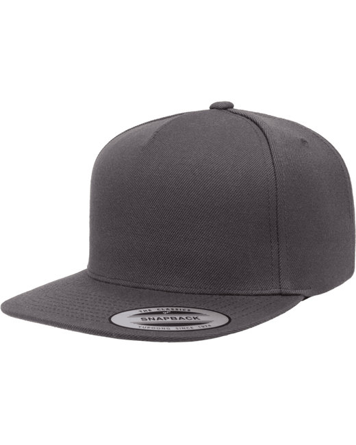 Yupoong Adult 5-Panel Structured Flat Visor Classic Snapback Cap - Dark Grey