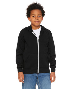 3739Y Bella + Canvas Youth Sponge Fleece Full-Zip Hooded Sweatshirt