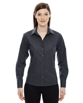 78674 NORTH Ladies' Boardwalk Wrinkle-Free Two-Ply 80's Cotton Striped Tape Shirt