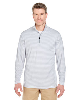 8235 ULTRACLUB Adult Striped Quarter-Zip Pullover