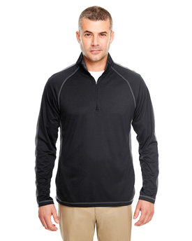 8398 UltraClub Adult Cool & Dry Sport Quarter-Zip Pullover with Side and Sleeve Panels