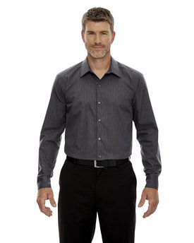 88674 NORTH Men's Boardwalk Wrinkle-Free Two-Ply 80's Cotton Striped Tape Shirt