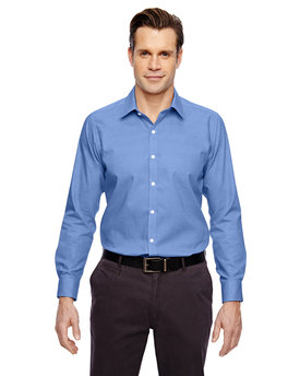 88690 Ash City - North End Sport Blue Men's Precise Wrinkle-Free Two-Ply 80's Cotton Dobby Taped Shirt