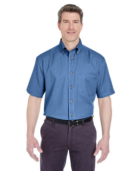 8965 UltraClub Adult Short-Sleeve Cypress Denim with Pocket