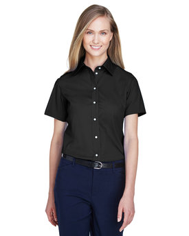 D620SW Devon Ladies' Crown Woven Collection™ Solid Broadcloth Short-Sleeve Shirt