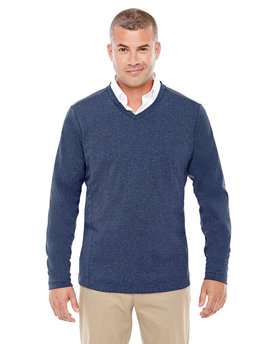 D884 Devon & Jones Adult Fairfield Herringbone V-Neck Pullover