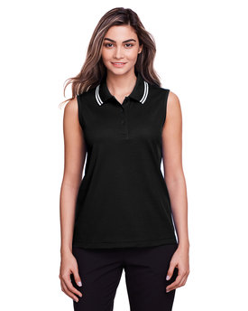 DG20SW Devon & Jones Ladies' CrownLux Performance™ Plaited Tipped Sleeveless Polo