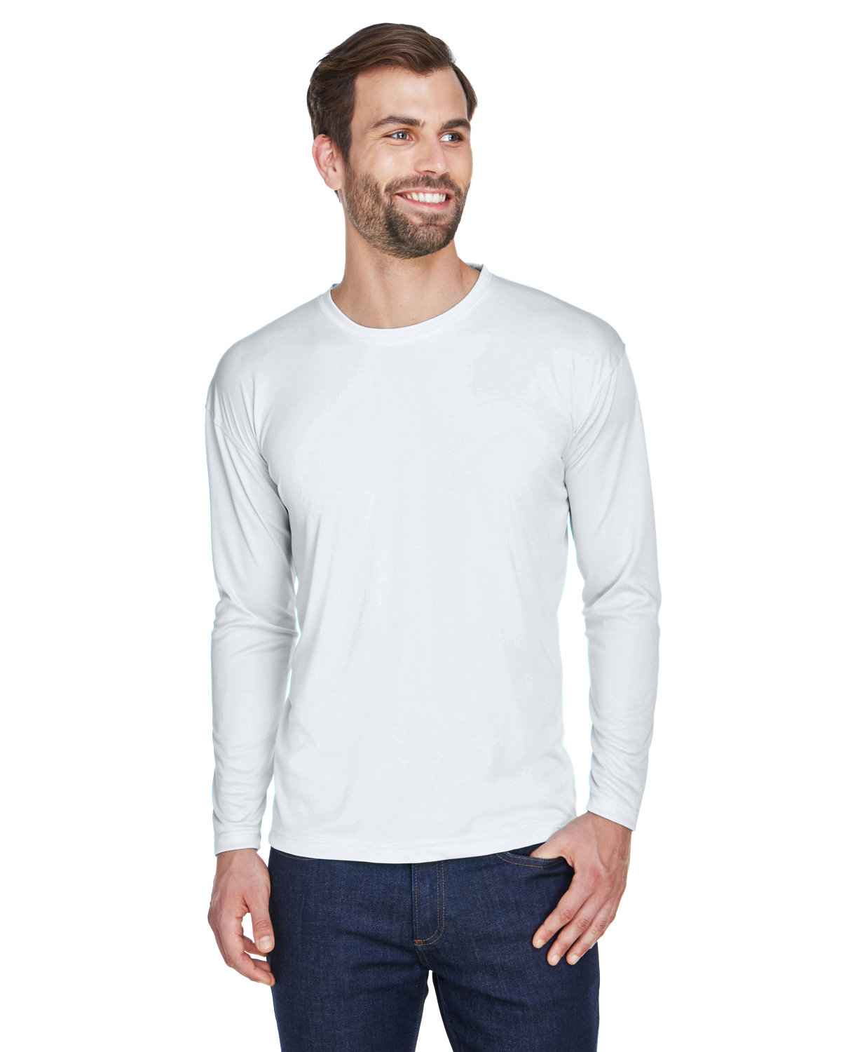 a8e54c5b Front Quarter Back Side. Gallery View Download HiRes Design Studio. 8422  UltraClub Adult Cool & Dry Sport Long-Sleeve Performance Interlock T-Shirt