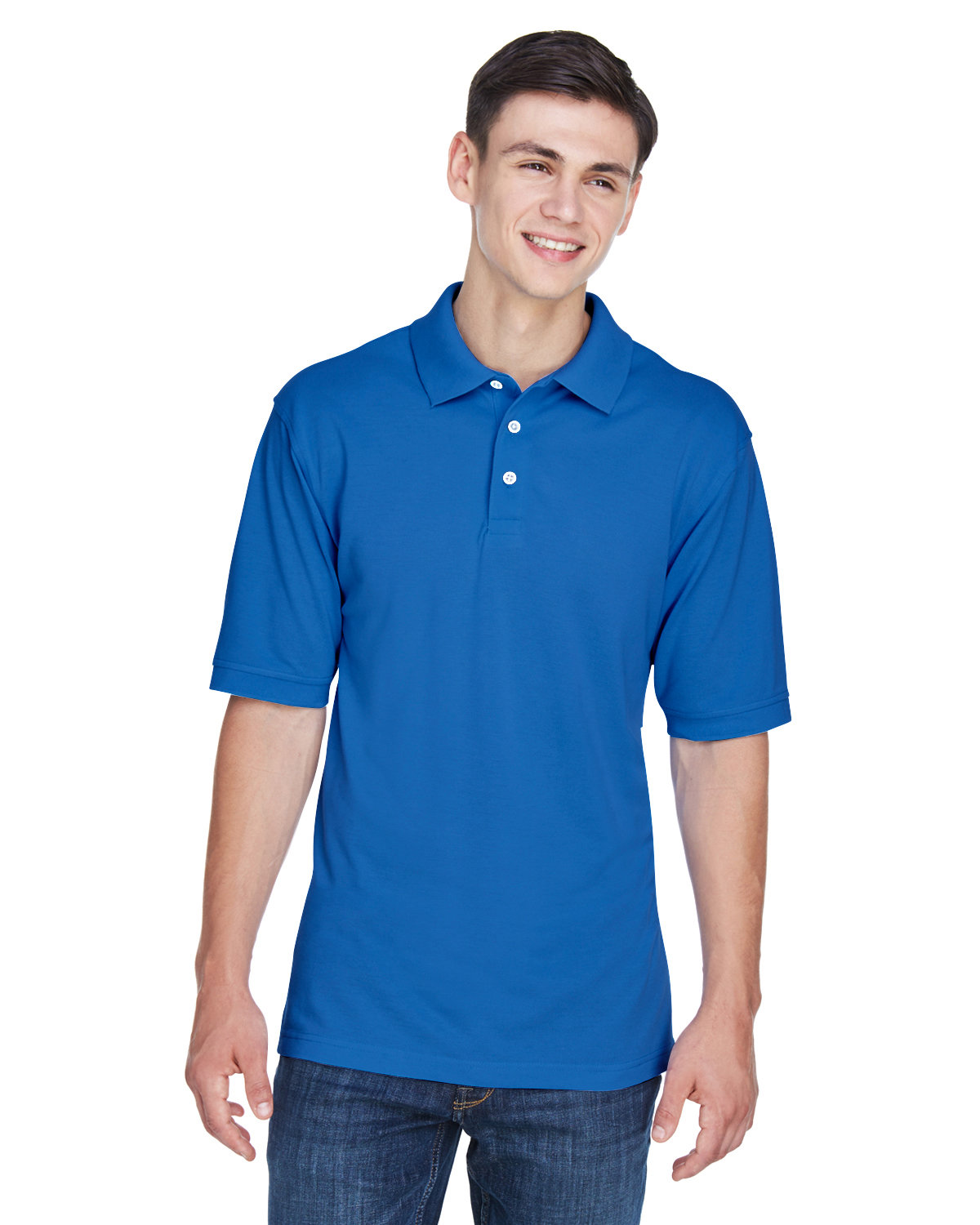 Easy Blend Polo M265 Harriton Mens 5.6 oz NAUTICAL BLUE