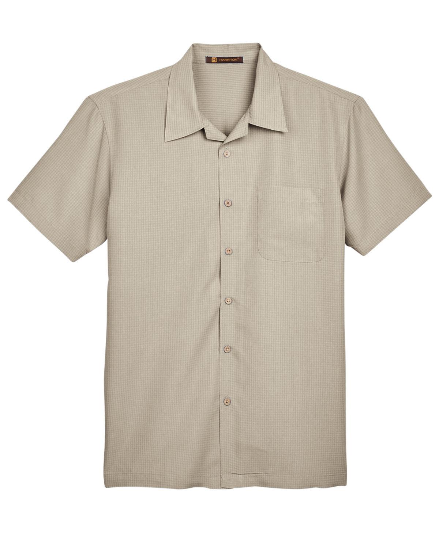 CREME Harriton Mens Barbados Textured Camp Shirt M560