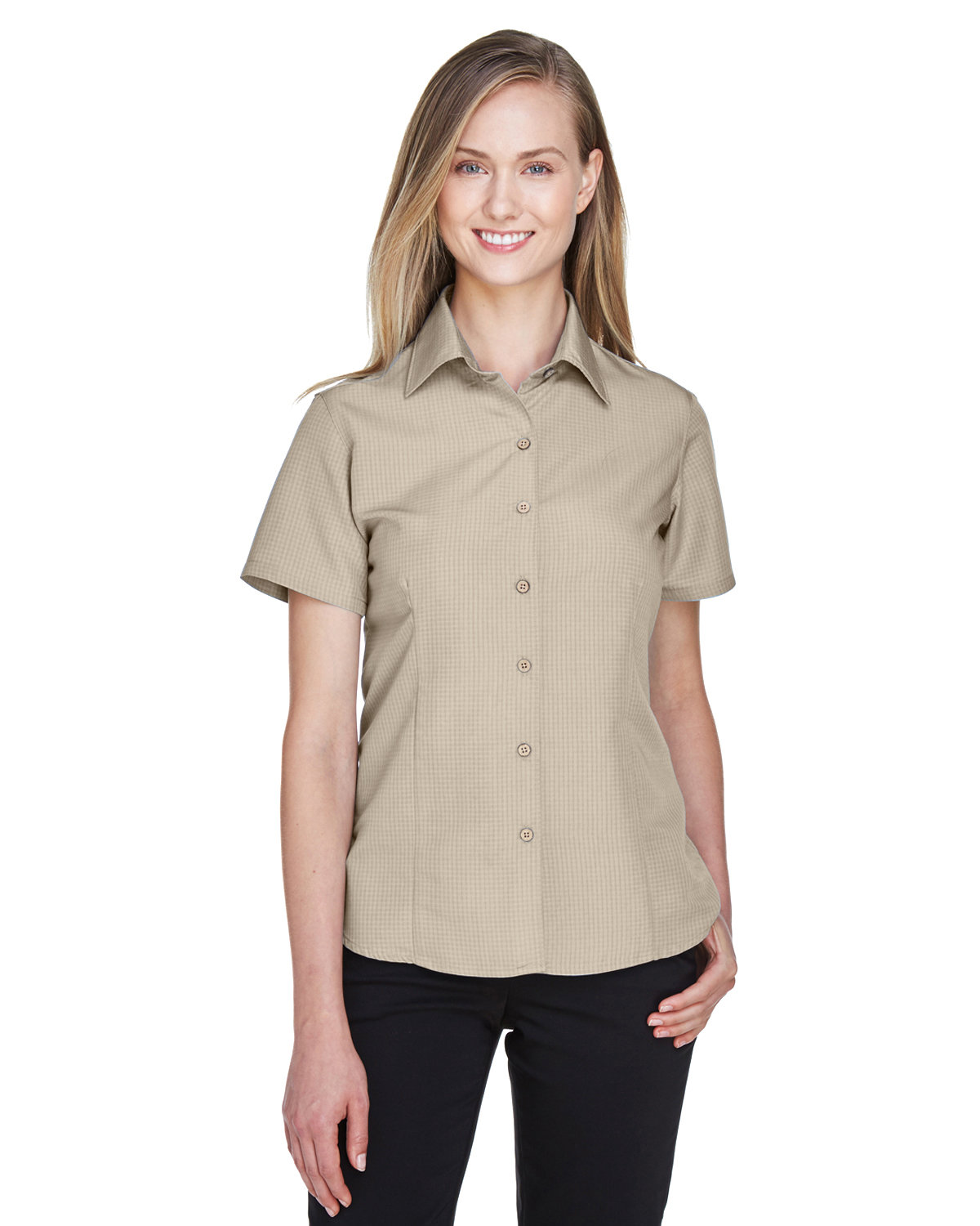 ce96e23b82db0 Front Back Side · Gallery View Download HiRes Design Studio. M560W Harriton  Ladies  Barbados Textured Camp Shirt