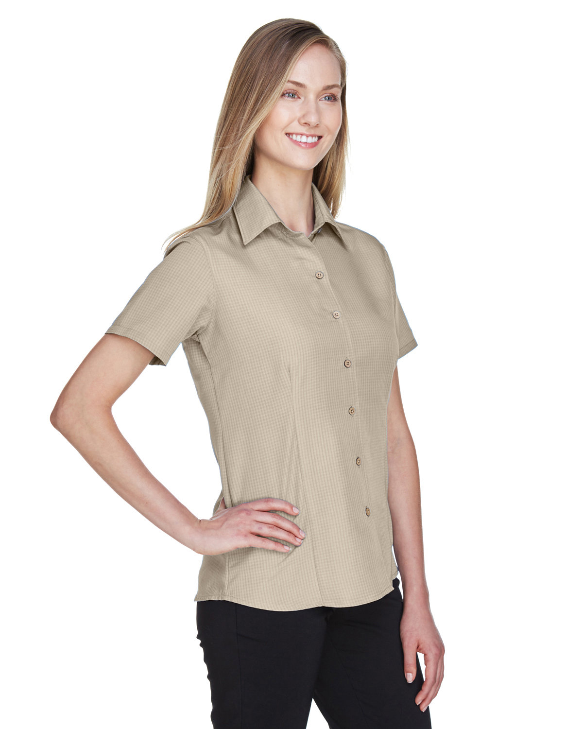 9d993569d7841 Front Quarter Back Side. Gallery View Download HiRes Design Studio. M560W  Harriton Ladies  Barbados Textured Camp Shirt