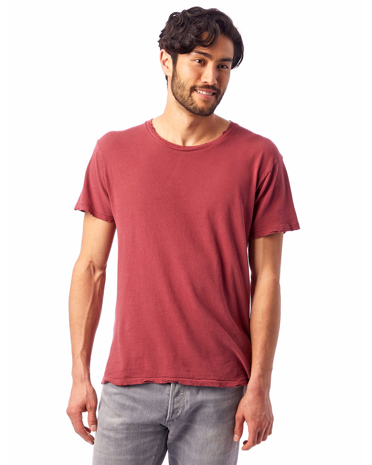 Alternative Men's Heritage Garment-Dyed Distressed T-Shirt RED PIGMENT