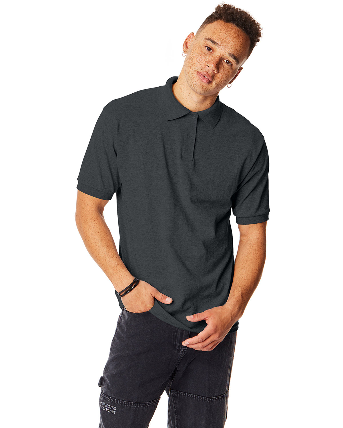 Hanes Adult 50/50 EcoSmart® Jersey Knit Polo CHARCOAL HEATHER