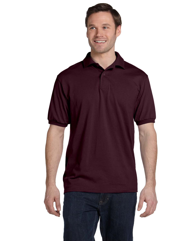 Hanes Adult 50/50 EcoSmart® Jersey Knit Polo MAROON