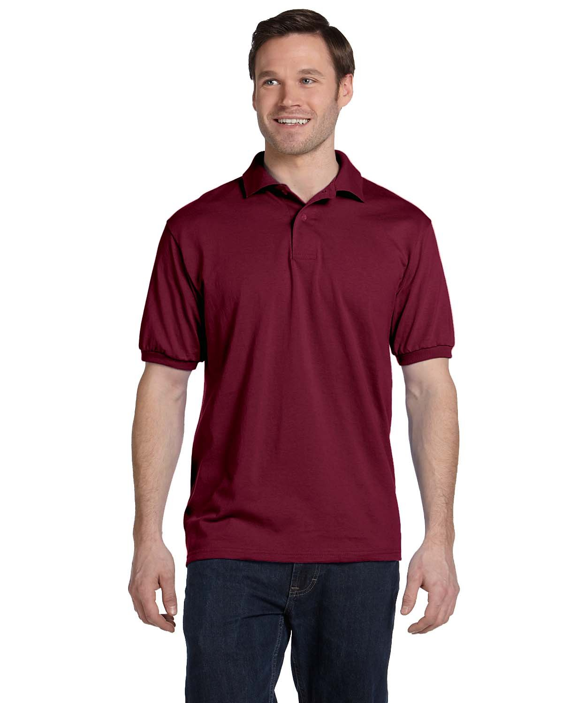 Hanes Adult 50/50 EcoSmart® Jersey Knit Polo CARDINAL