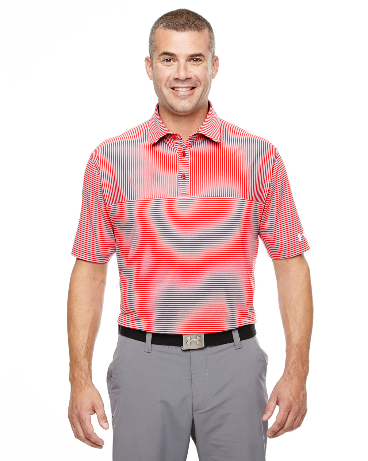 Under Armour SuperSale Men's Playoff Polo RD/ T GY/ WH _600