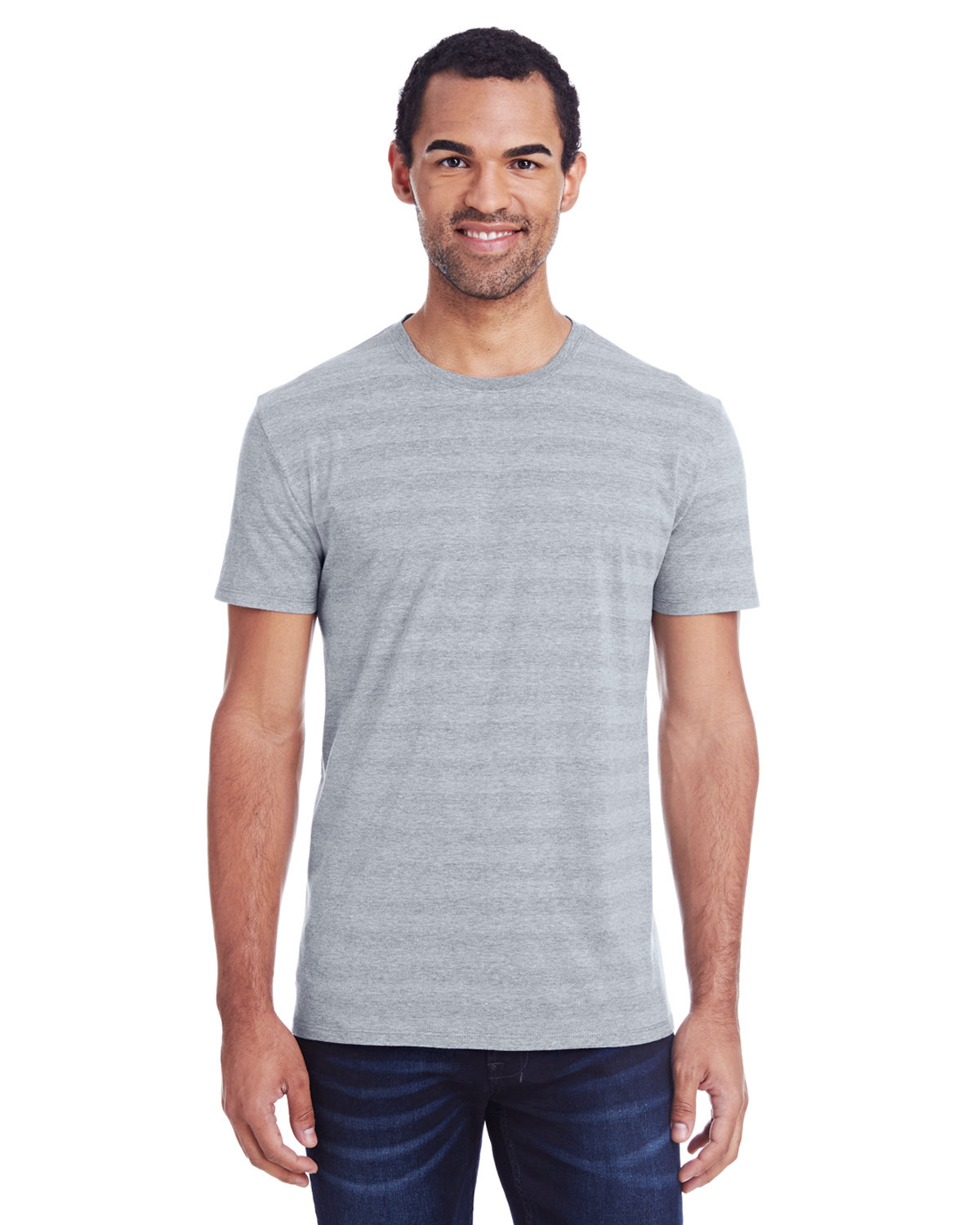 Threadfast Apparel Men's Invisible Stripe Short-Sleeve T-Shirt HTH GRY INV STRP