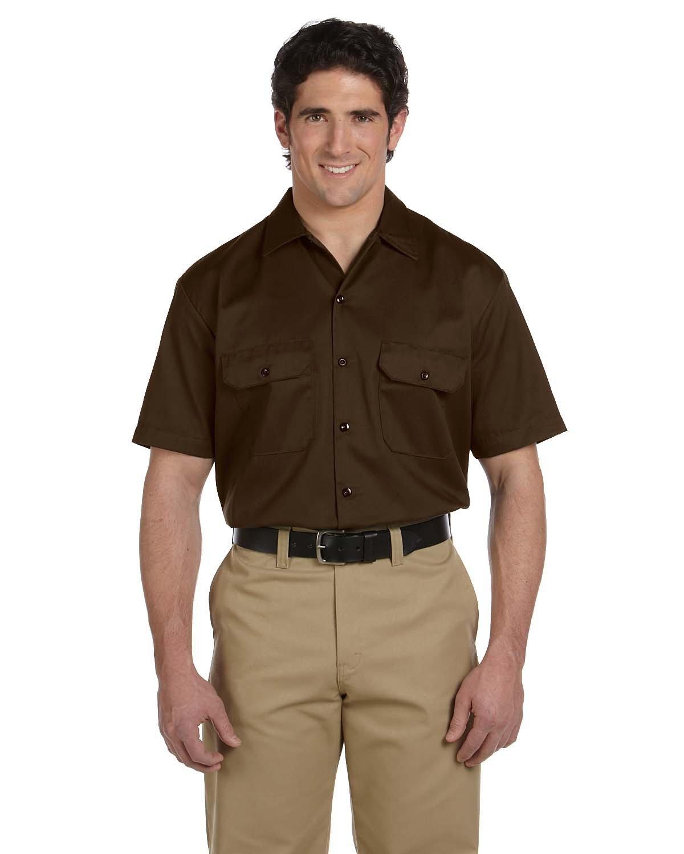 Dickies Men's 5.25 oz./yd² Short-Sleeve WorkShirt DARK BROWN