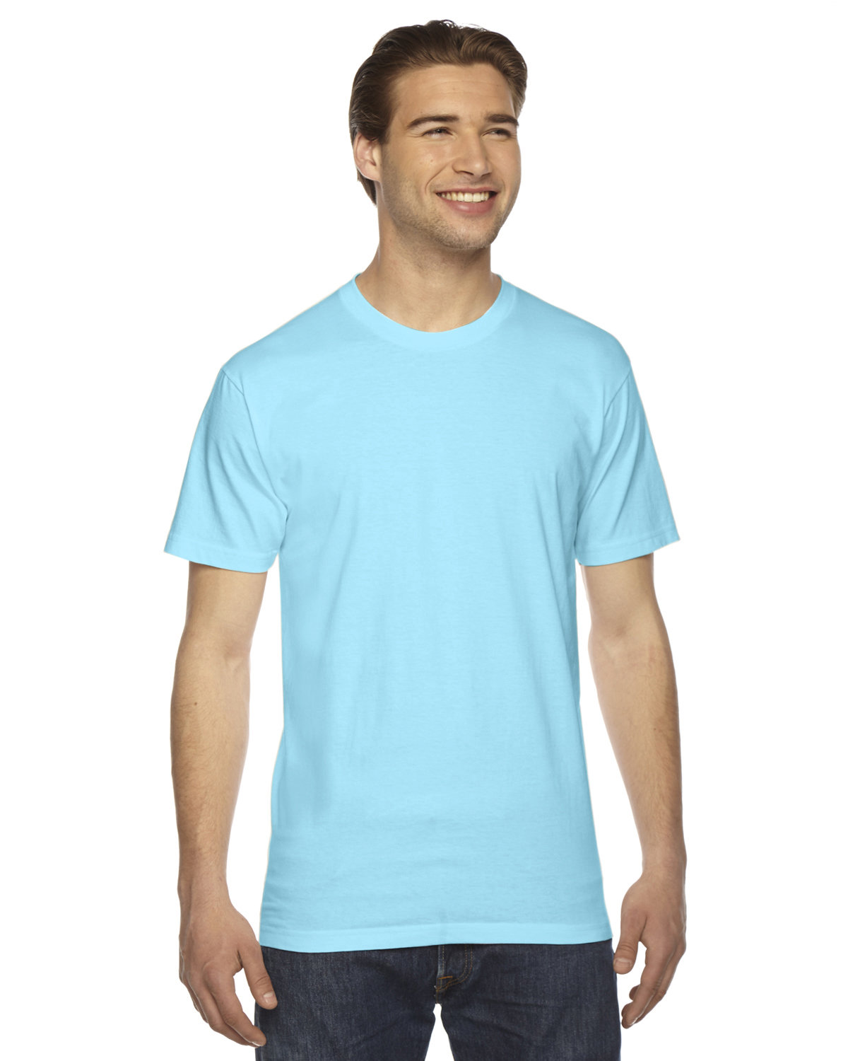 American Apparel Unisex Fine Jersey USA Made T-Shirt AQUA