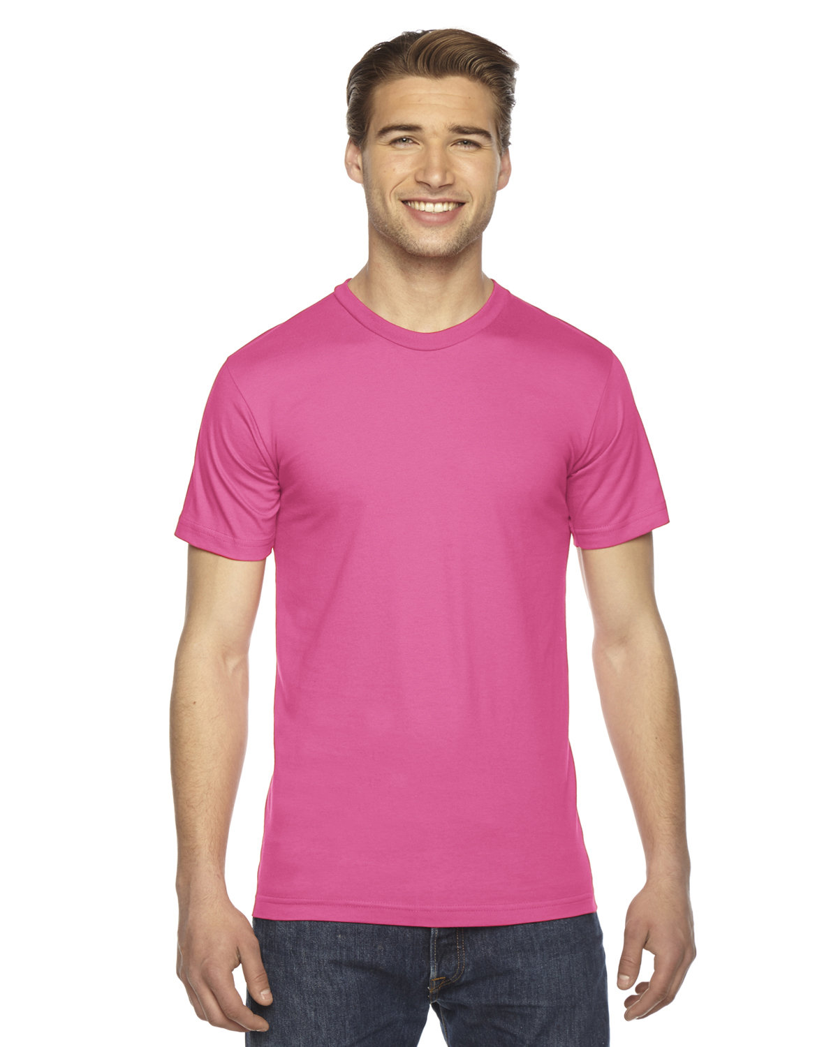 American Apparel Unisex Fine Jersey USA Made T-Shirt FUCHSIA