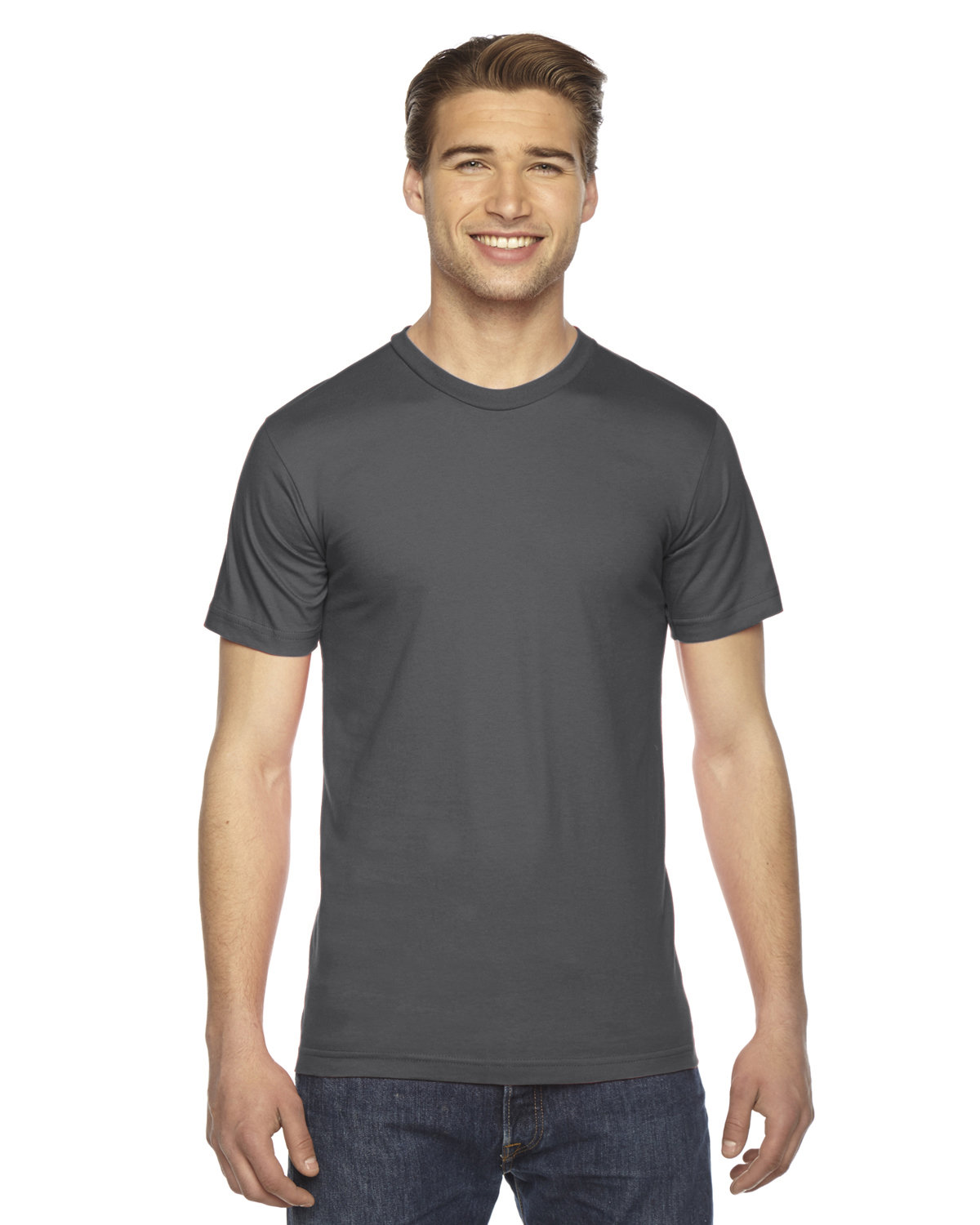 American Apparel Unisex Fine Jersey USA Made T-Shirt ASPHALT