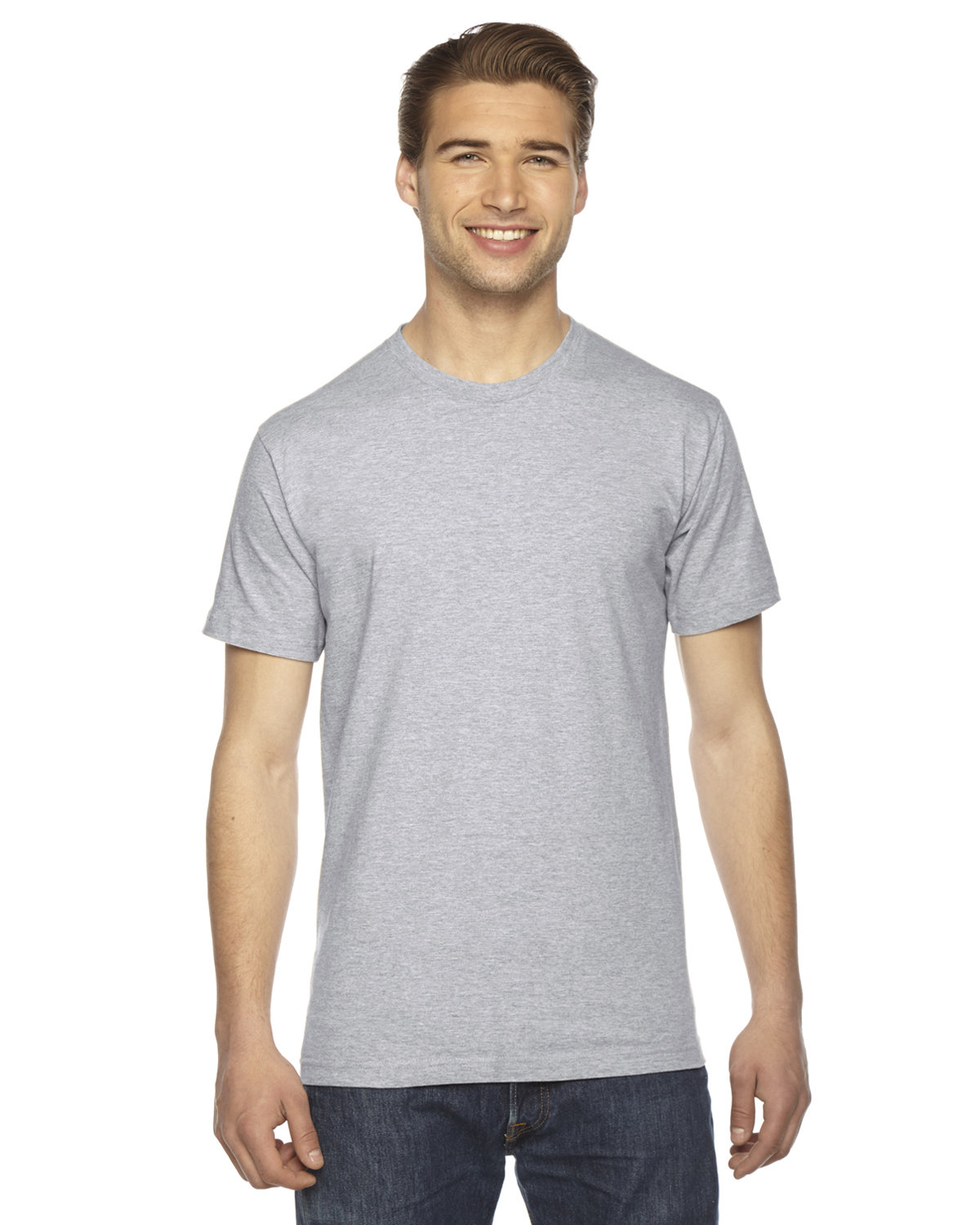 American Apparel Unisex Fine Jersey USA Made T-Shirt HEATHER GREY