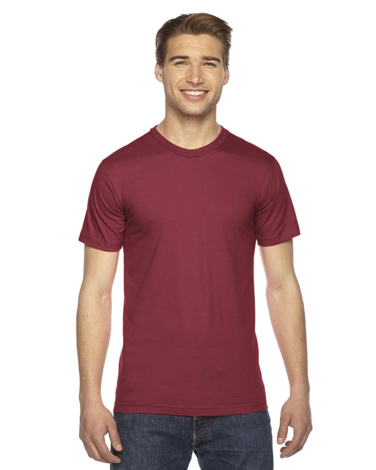 American Apparel Unisex Fine Jersey USA Made T-Shirt CRANBERRY