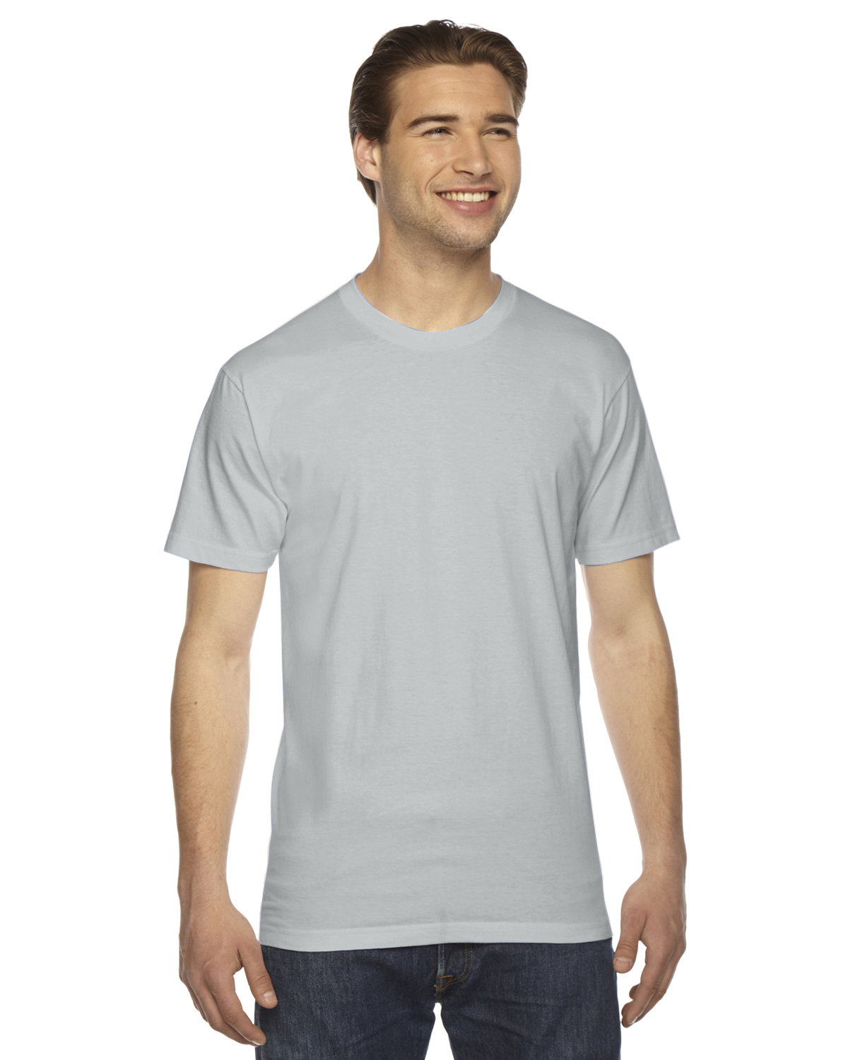 American Apparel Unisex Fine Jersey USA Made T-Shirt NEW SILVER