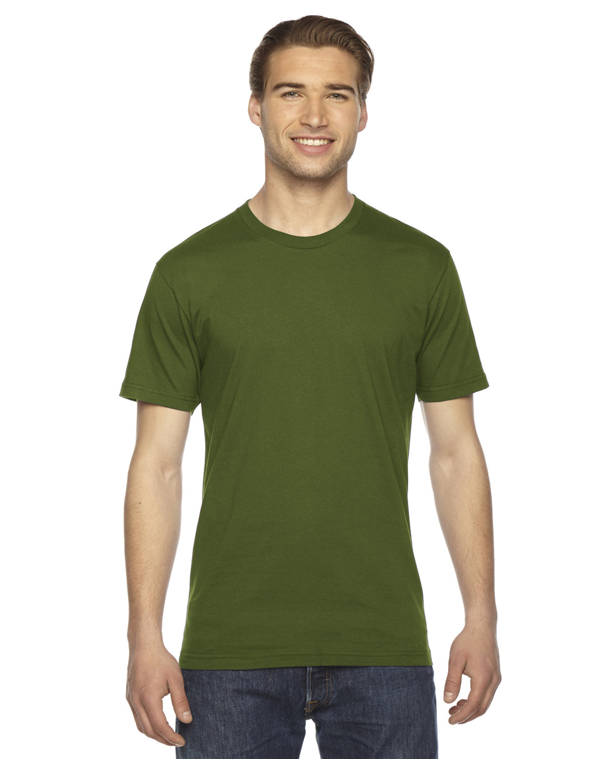 American Apparel Unisex Fine Jersey USA Made T-Shirt OLIVE