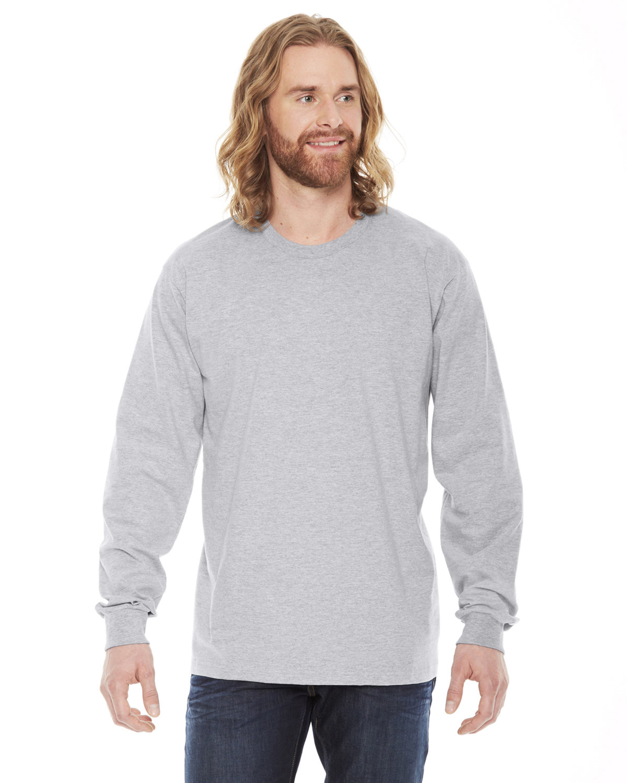 American Apparel Unisex Fine Jersey USA Made Long-Sleeve T-Shirt HEATHER GREY