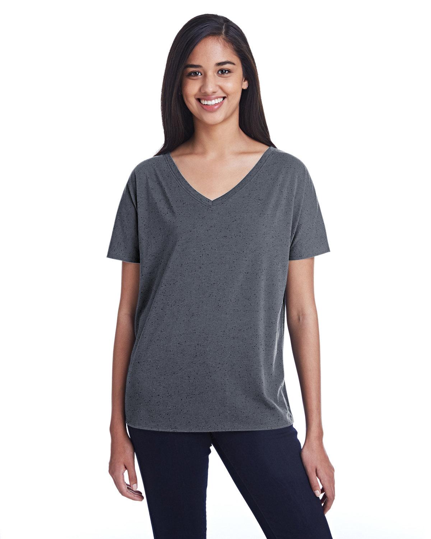 Threadfast Apparel Ladies' Triblend Fleck Short-Sleeve V-Neck T-Shirt CHARCOAL FLECK