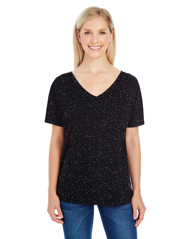 Threadfast Apparel Ladies' Triblend Fleck Short-Sleeve V-Neck T-Shirt BLACK FLECK