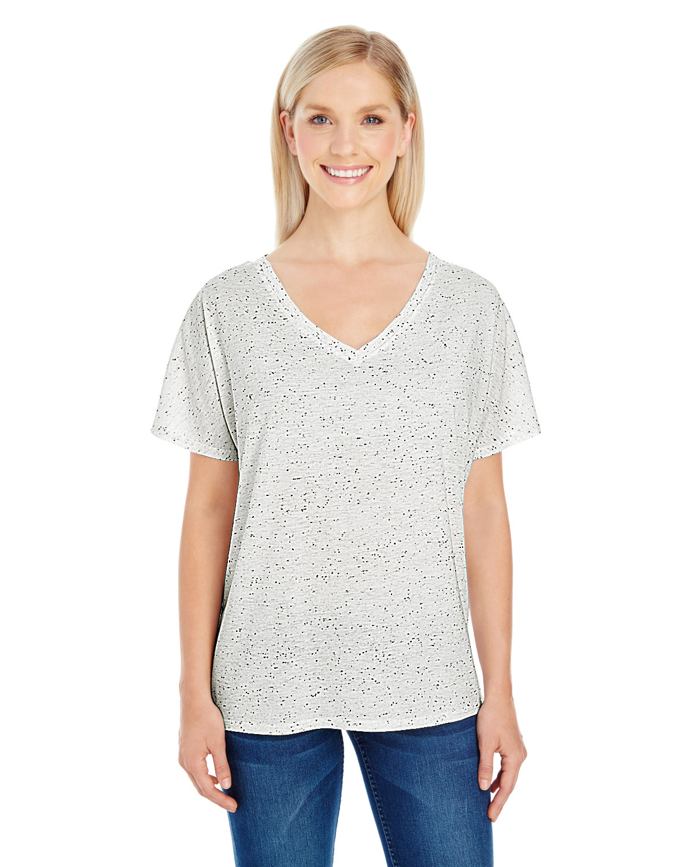 Threadfast Apparel Ladies' Triblend Fleck Short-Sleeve V-Neck T-Shirt CREAM FLECK