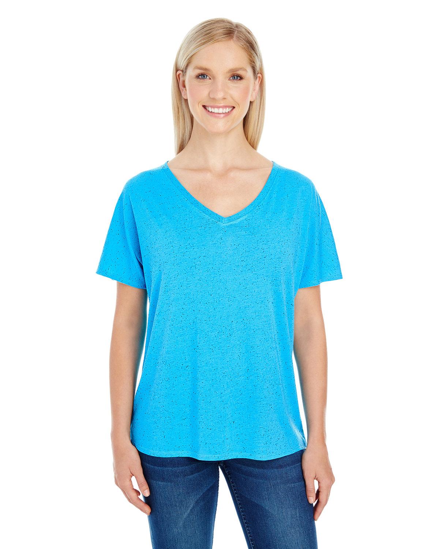 Threadfast Apparel Ladies' Triblend Fleck Short-Sleeve V-Neck T-Shirt TURQUOISE FLECK