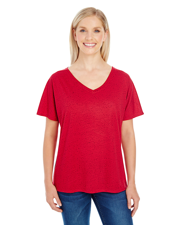 Threadfast Apparel Ladies' Triblend Fleck Short-Sleeve V-Neck T-Shirt RED FLECK