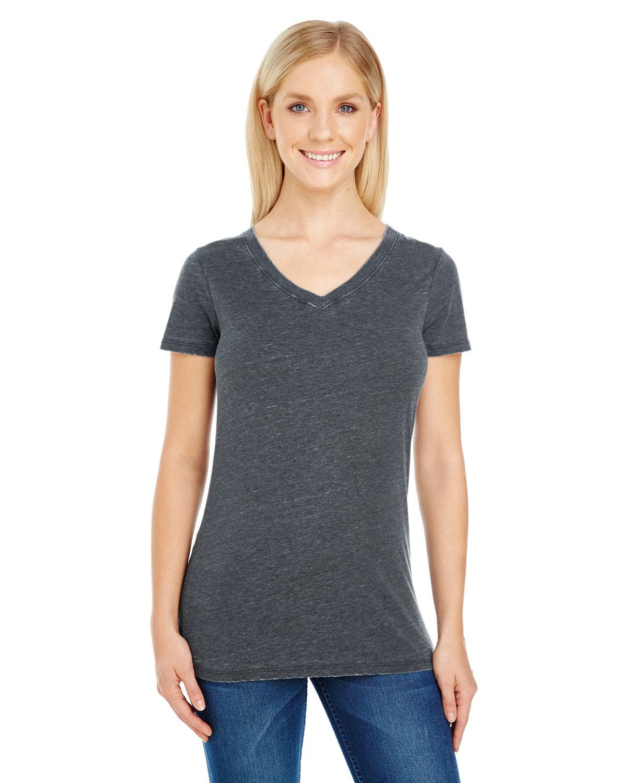 Threadfast Apparel Ladies' Vintage Dye Short-Sleeve V-Neck T-Shirt VINTAGE CHARCOAL