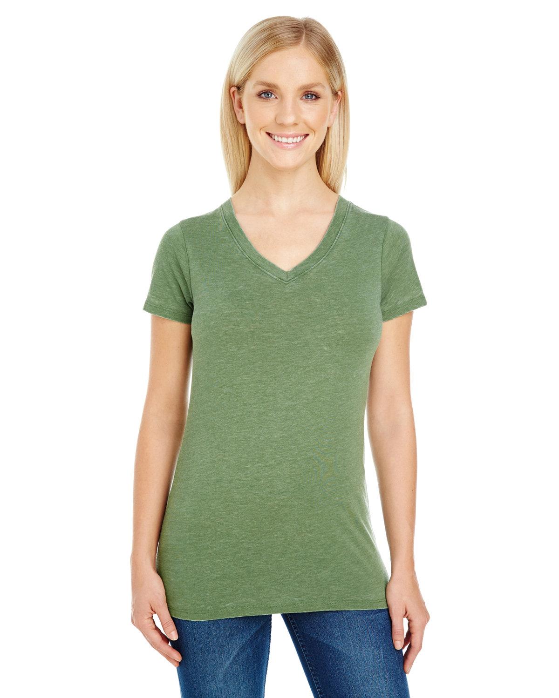 Threadfast Apparel Ladies' Vintage Dye Short-Sleeve V-Neck T-Shirt VINTAGE GRASS